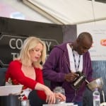 Beverley Glock and Phil Gayle on stage at Thame Food Festival